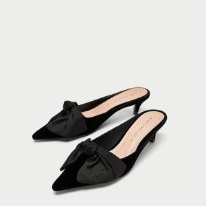 Zara Kitten Heel Mules with Bow Black US 6.5